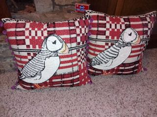 Pair of Beaded Puffin Pillows