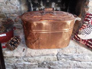 Antique Revere Copper Boiler Tub With Wood Handles