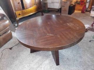 Round Wood Coffee Table With Mid Century Style Base