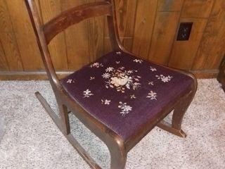 Vintage Roseback Rocking Chair With Needlepoint Seat
