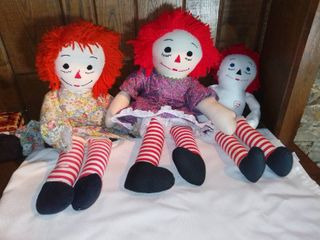 3 Vintage Raggedy Ann Dolls