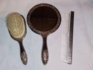 Vintage Ornate Silver Tone Vanity Set