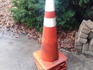 4 Orange Hazard Cones