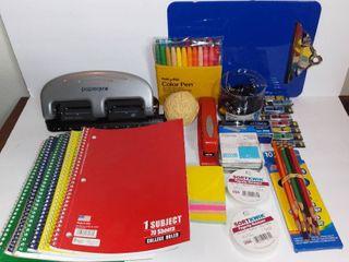 Small lot of Office Supplies   3 Hole Punch  Notebooks  Sortkwik Wax  Clipboard  Etc
