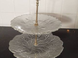 Fogged Crystal Etched Two Tiered Serving Platter with Gold Toned Handle