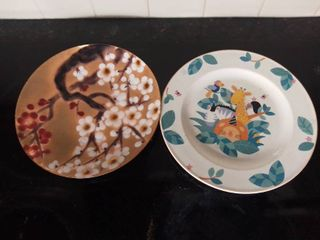 lot of 2 Glass Ceramic Plates   Animal Plate Dishwasher Safe  Cherry Blossom Plate Decorative