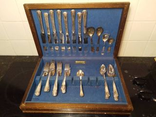 WM Rogers   Son Silver Cutlery Set   Not a Full Set  Some Pieces Missing and Some Add Ons   Original Rogers Silverplate in Wooden Silver Case