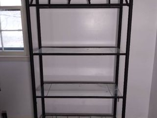 Metal Rod and Glass 4 Tiered Shelf with Arched Design on Top