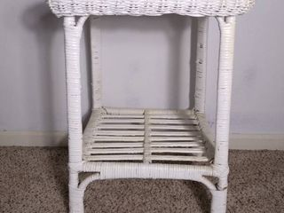 Small White Wooden Wicker Side Table