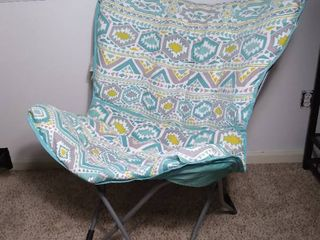 Aluminum and Plastic Foladble lounge Chair with Polyester Cover   Blue and Yellow Tribal Pattern