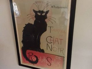 Framed Wall Hanging of French Poster with Black Cat   Prochainement TournAce Du Chat Noir Rodolptte De Salis