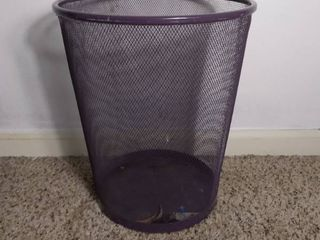 Seville Classics Purple Metal Mesh Waste Basket   Needs a Small Clean Up