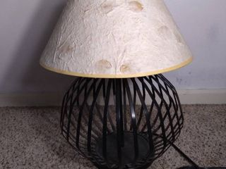 DesignCo Imports Cage Shaped lamp with Distressed Paper Shade   Tested and Working
