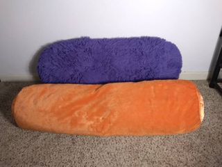 lot of 2 Bright and Colorful Throw Pillows for Bed or Couch   Purple Shaggy Pillow and long Cylinder Orange Pillow