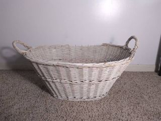 light White Wicker Basket with Handles   Some Wear and Tear  Damage on Top