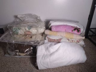 Smal lot of Miscellaneous Bedding   Quilts  Pillow Cases  Pink Plankets  Mattress Cover  Flower Comforter and Other Items in Plastic Bags