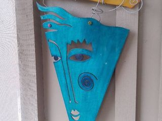 2004 Artist Made laser Cut Sheet Metal Wall Hanging   Blue Abstract Face with Sun