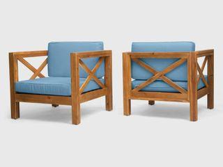 Brava Outdoor Acacia Wood Club Chair w  Cushions by CKH