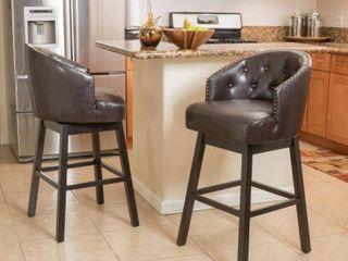 Ogden Bonded leather Swivel Barstools by CKH SET OF 2