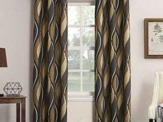 No  918 Intersect Grommet Woven Print Window Curtain Panels SET OF 2