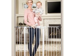 Regalo 38 Inch Extra Tall and 49 Inch Wide Walk Thru Baby Gate  Includes 4 Inch and 12 inch Extension Kit