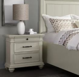 Copper Grove Derbyhaven Off White Wood 3 Drawer Dresser Nightstand With 2 USB Ports