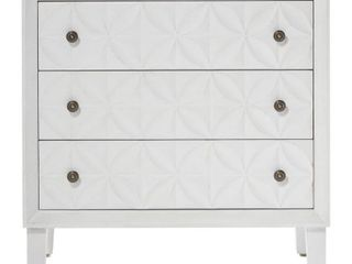 Carved White Wood Chest with Rosette Handles 32 x 16 x 32  Retail 607 99
