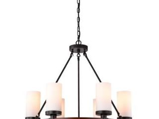 Daniela Antique Round Wood Chandelier with Frosted Glass Globes  Retail 287 99