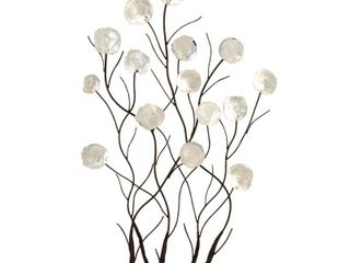 Decmode   White Shell Bouquet Metal Wall Decor  24  x 36