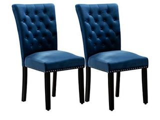 Pekko Home Parsons Upholstered Accent Dining Chair  Set of 2  Blue