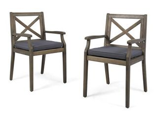 Perla Outdoor Acacia Wood Dining Chair  Set of 2  by Christopher Knight Home  Retail 208 49