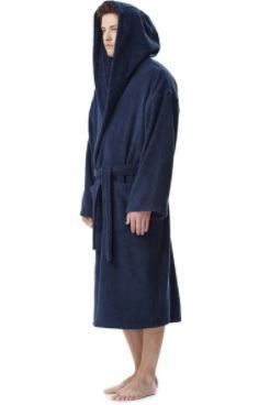 Mens Premium Turkish Cotton Hooded Bath Robe
