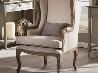 Baxton Studio Oreille French Provincial Style White Wash Distressed 2 Tone Beige Upholstered Armchair