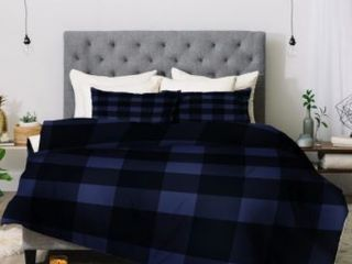 Deny Designs Plaid 3 Piece King Comforter Set  Retail 306 49