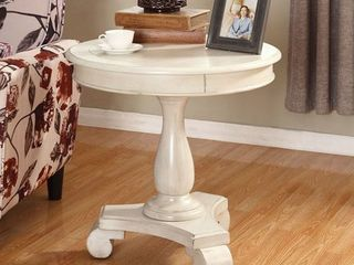 Roundhill Furniture Rene Round Wood Pedestal Side Table  White