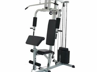 Everyday Essentials Home Gym System Workout Station with 330lB of Resistance  125lB Weight Stack w  extra weight plates  Retail  499 99