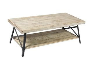 Emerald Home Chandler 48 Inch long Rustic Open Storage Coffee Table  Whitewash  Retail  267 99