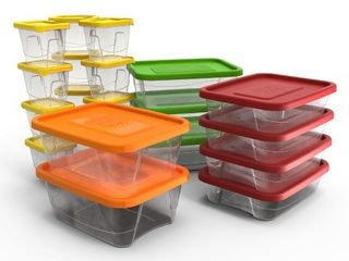 Plas Glas 60 Piece Stackable Plastic Food Storage lunch Containers and lids Set  Retail  43 99   READ