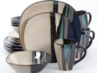 Gibson Elite 16 Piece Reactive Glaze Dinnerware Plates  Bowls  and Mugs  Teal  Retail  104 99   READ