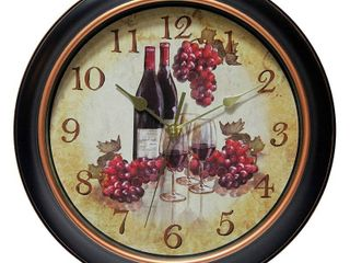 Infinity Instruments Quartz Movement Pinot Wine Grapes 12 Inch Metal Wall Clock  Retail  51 99