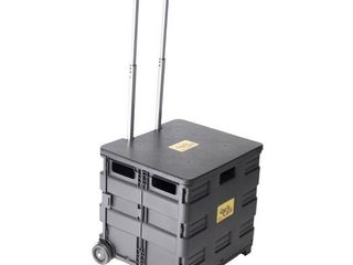 dbest products Quik Cart Wheeled Collapsible Handcart w  lid Seat Stool  Black  Retail  53 99