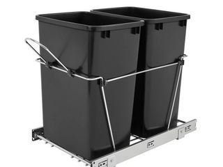 Rev A Shelf RV 18KD 18C S Double 35 Quart Sliding Pull Out Waste Bin Containers  Retail  140 65
