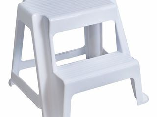 Gracious living Extra Safe Non Slip 18 75  Rubber 2 Step Home Step Stool  White  Retail  59 99