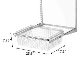 Rubbermaid Metal Wire Sliding Storage Basket for Closet Organizer Kits  White  Retail  60 99