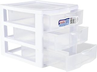 Sterilite Wide 3 Drawer Unit White  Retail  33 13