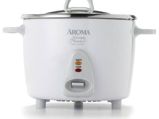 Aroma 14 Cup Stainless White Pot Style Rice Cooker  3 Piece  Retails 49 99