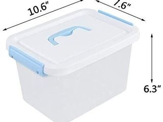 Tyminin Small Plastic clear storage lidded latch Box Bin with White lid and light Blue Handles