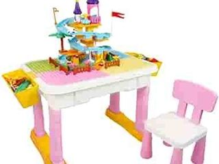 Kids Multi Activity Table Chair set With Building Blocks  Pink  Retails 77 99