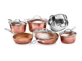 Gotham Steel Hammered Copper 10 Pc  Cookware Set  RETAIl PRICE  149 69