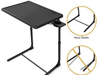 lORYERGO TV Tray Table   Adjustable TV Dinner Tray Tables with 6 Height   3 Tilt Angle  Folding TV Trays with Cup Holder for Bed   Sofa  Multifunctional TV Table Tray for Eating   Reading